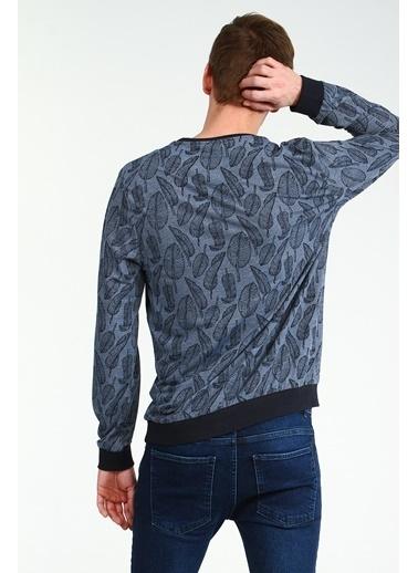 Collezione Lacivert Bisiklet Yaka Desenli Uzun Kollu Erkek Sweatshirt Lacivert